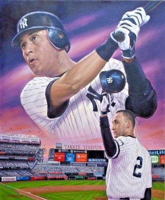 NY YANKEE DEREK JETER ORIGINAL PAINTING ON CANVAS SIGNED BY ARTIST DOO S. OH