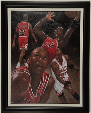 Michael Jordan Original On Canvas By Renowned Artist Doo S. Oh, Hand Signed By Michael Jordan, Upper Deck Unthenticated.