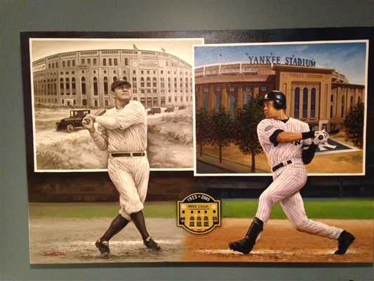NY Yankees Babe Ruth & Derek Jeter Original on canvas by world renowned artist Doo S. Oh