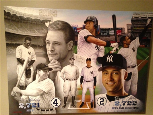 """YANKEES RECORD BREAKER"" World Renowned Artist Doo S. Oh Original Art On Canvas."