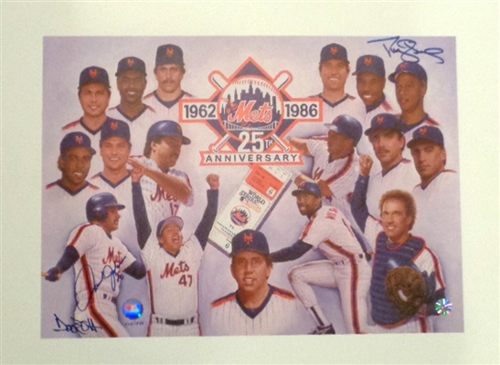 "1986 NY Mets Fine Art Lithograph ""25 Year Anniversary"" & WS Celebration Signed by Johnson & Strawberry"