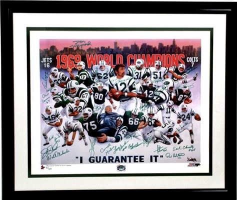 1969 Super Bowl Champion NY Jets Limited Edition Lithograph of 169 Team Signed