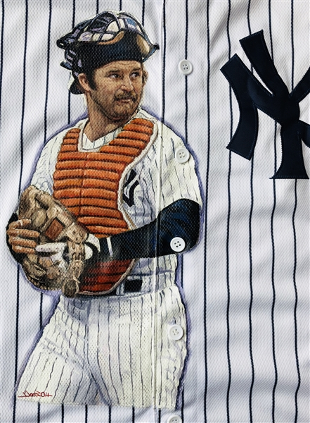 NY Yankees Thurman Munson Hand Painted Jersey By Artist Doo S. Oh.