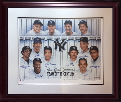 "NY Yankees ""Team Of The Century""  signed 27x36"" framed litho. 9 auto Joe DiMaggio Berra COA /139"