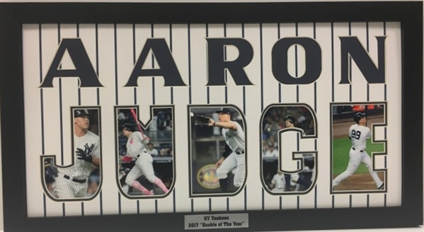 Aaron Judge Yankees 2017 Rookie of the Year Framed Cut Out Letters with Action Photos in them