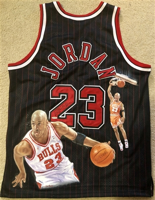 Michael Jordan Hand Painted SIGNED Jersey 1/1 By Artist Doo S. Oh (UDA)