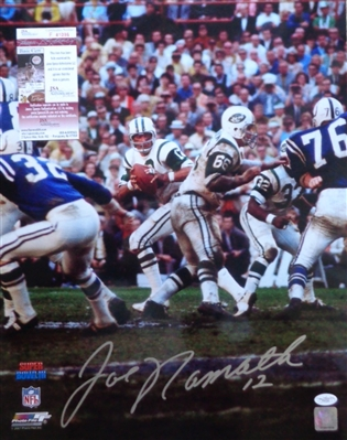 Joe Namath Signed (BIG BOLD AUTO) 16x20 Action Photo of him Dropping Back to Pass In Super Bowl 3 JSA COA