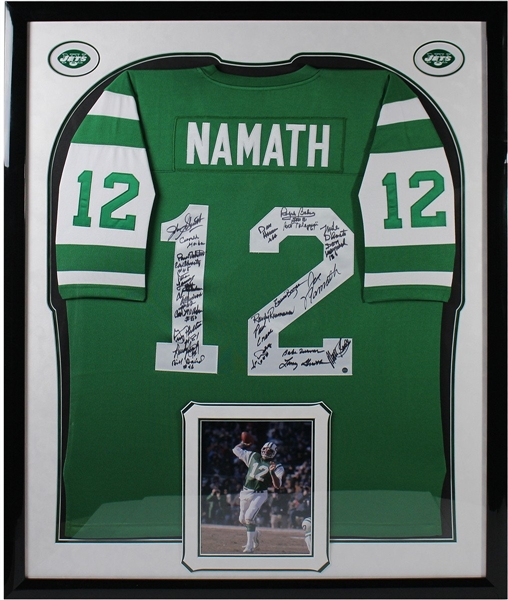 1969 New York Jets Elite Framed Team Signed Green Joe Namath Mitchell & Ness Jersey (24 Signatures)