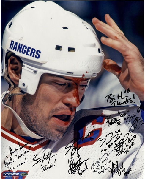 1994 New York Rangers Multi Signed and Inscribed Mark Messier Blood 16x20 Metallic Photo (Signed in Black) (12 Sigs)