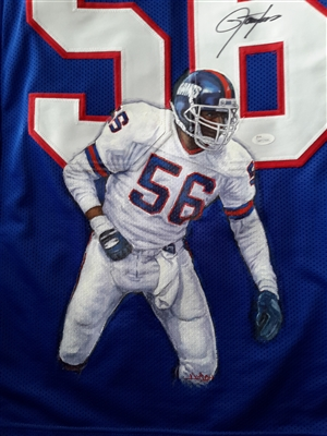 NY Giant Lawrence Taylor Hand Signed & Painted Jersey By World Renowned Artist Doo S. Oh.
