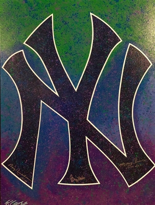 NY Yankees Historic Logo Original Fine Art Painting by Renowned Artist Bill Lopa Signed by 3 Ex Yankees So Far