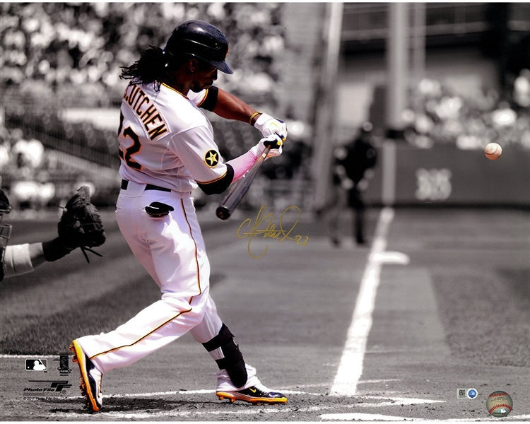 Andrew McCutchen Signed Pittsburgh Pirates  Swinging Vertical 16x20 Photo ( MLB Auth Holo Only)