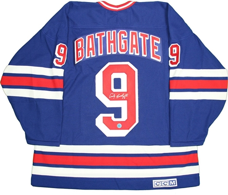 Andy Bathgate New York Rangers Signed Retro CCM Hockey Jersey( AJ Sports Auth)