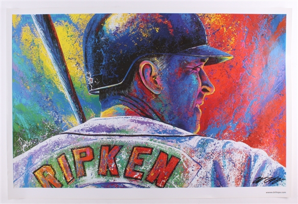 CAL RIPKEN JR FINE ART LITHOGRAPH HAND SIGNED BY ARTIST BILL LOPA