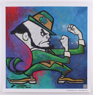 NOTRE DAME FIGHTING IRISHMAN LOGO FINE ART LITHOGRAPH HAND SIGNED BY ARTIST BILL LOPA