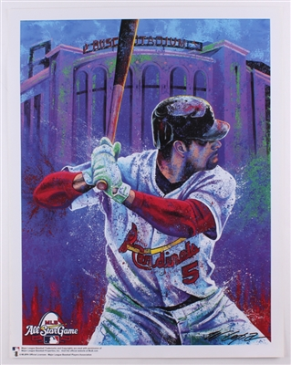 ALBERT PUJOLS ST. LOUIS CARDINALS LITHOGRAPH HAND SIGNED BY ARTIST BILL LOPA