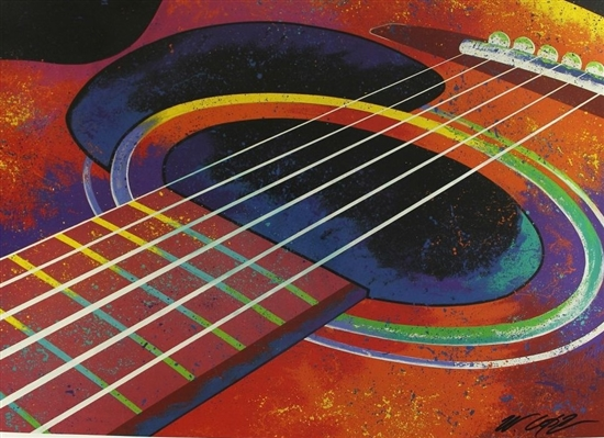 GUITAR LITHOGRAPH HAND SIGNED BY ARTIST BILL LOPA ~ GREAT FOR MUSICIAN SIGNINGS