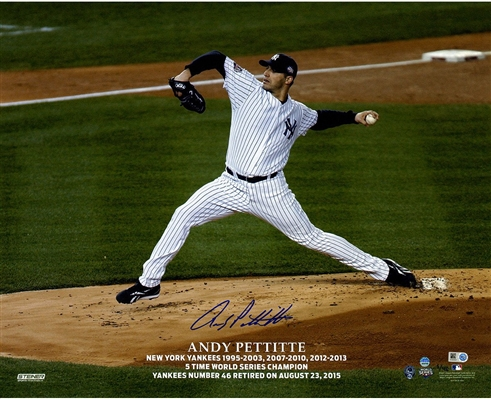 Andy Pettite Signed Pettitte Retirement Logo Pitching Horizontal 16x20 Photo (LE/46)