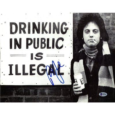 Billy Joel Signed 11x14 Drinking in Public is Illegal Photo Beckett