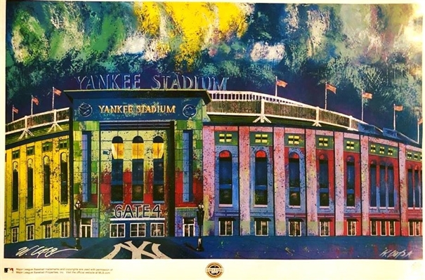 Original Yankee Stadium Lithograph Hand Signed by Artist Lopa MLB Licensed No Reserve