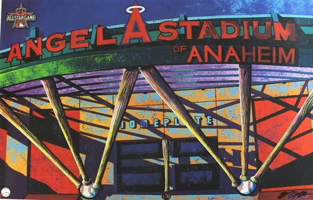 Angel Stadium 2010 All-Star Game Lithograph by Artist Bill Lopa MLB Licensed NO RESERVE