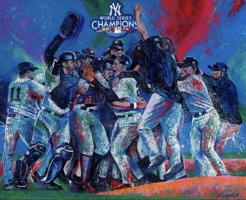 """2009 Yankees World Series"" 36x24"" Lithograph Signed by Artist Bill Lopa MLB Licensed NO RESERVE"