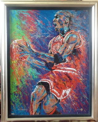 Michael Jordan Signed Framed Fine Art Giclee Magnificently Created by Artist Bill Lopa LE /123 UD Certified