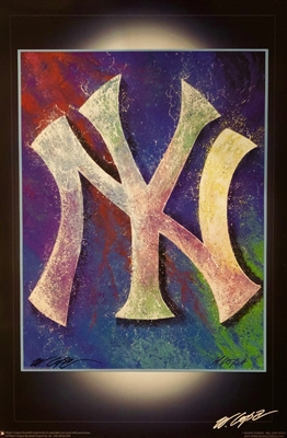 NY Yankees Logo Lithograph Signed by Sports Artist Bill Lopa MLB Licensed No Reserve