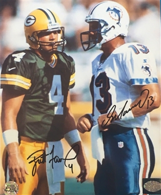 Two Legends Autos on One Pic BRETT FAVRE & DAN MARINO Authentic Hand Signed 8x10 Photo RARE No Reserve