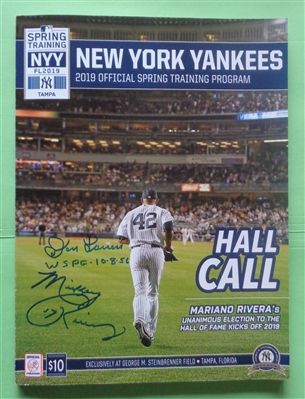 Don Larsen & Mickey Rivers Signed 2019 Yankees Spring Training Program PIFA COA No Reserve