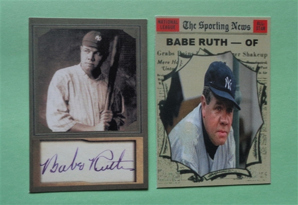 Lot of (2) Babe Ruth Vintage Baseball Cards (High Quality Facsimile including Auto) NO RESERVE