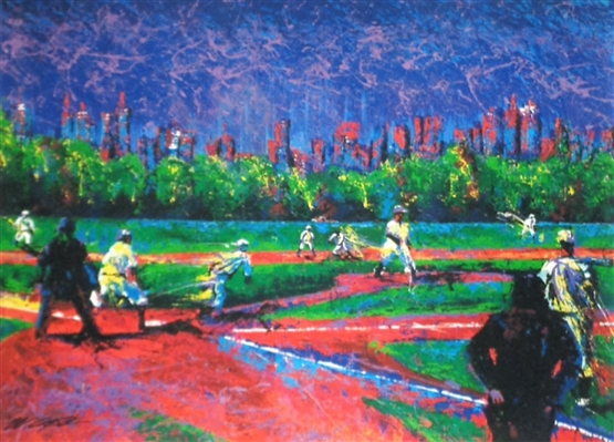 """Baseball in Central Park"" Fine Impressionistic Art Giclee by Renowned Sports Artist Bill Lopa NO RESERVE"