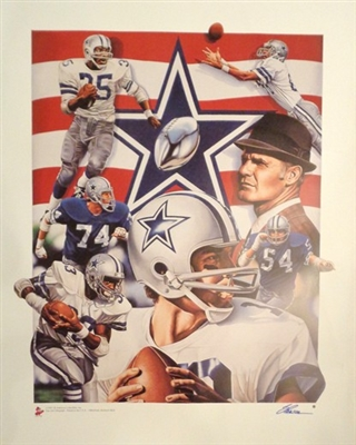 Dallas Cowboys Fine Art Lithograph Staubach, Lilly, Dorsett Landry Signed by Artist Steve Parsons NO RESERVE
