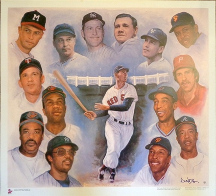 "The ""500 Home Run Club"" Fine Art Lithograph 15 Players Depicted by Renown Artist Doo S. Oh  No Reserve"