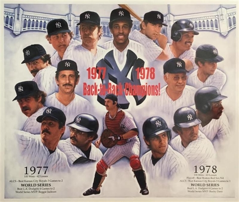 """Back To Back Champs""  1977-78 NY Yankees Fine Art Lithograph By Artist Doo S. Oh NO RESERVE"