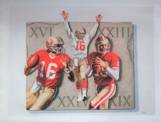 "Joe Montana SF 49ers Fine Art Lithograph Print ""The Legend""  Signed by Renown Artist Steve Parsons No Reserve"