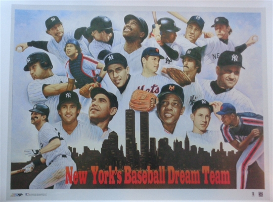 "NYs Baseball Dream Team 20x26"" Lithograph (Look at the Yankees & Mets Stars on this piece) No Reserve"