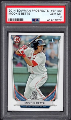 MOOKIE BETTS RED SOX 2014 BOWMAN 1st PROSPECTS CARD PSA 10 GEM MINT No Reserve