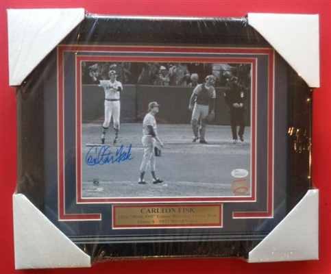 CARLTON FISK RED SOX 75 WS WALK OFF HR SIGNED AUTO 8X10 FRAMED PHOTO JSA COA