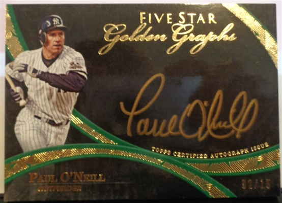 Paul ONeil Yankees 2014 Topps Five Star Golden Autographs ~ Signature on Card /15 No Reserve