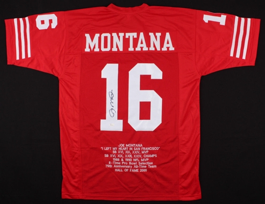 Joe Montana 49ers Signed Career Stats Jersey (Letters and #s are Sewn On) JSA COA No Reserve