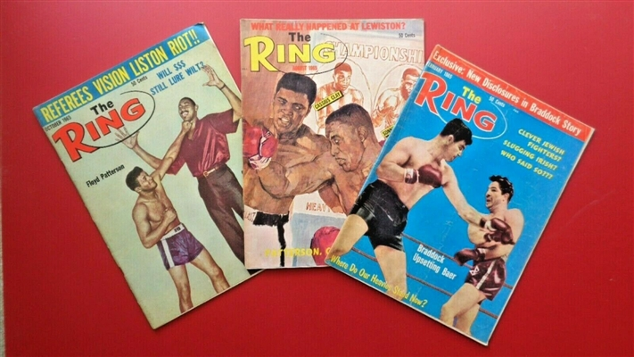 LOT of (3) 1965 RING MAGAZINES; CLAY LISTON + PATTERSON CHAMBERLIN + BRADDOCK BAER