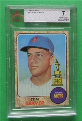 1968 Topps Tom Seaver Mets Card #45 All-Star Rookie BVG 7 NM ~ NO RESERVE
