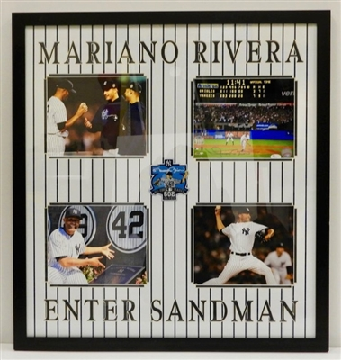 Mariano Rivera Signed Framed Career Highlight Moments with 4 pics Collage JSA COA