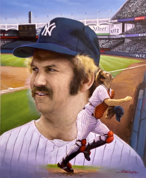 The CAPTAIN. Original Painting By World Renowned Artist Doo S. Oh of NY Yankee Great, Thurman Munson