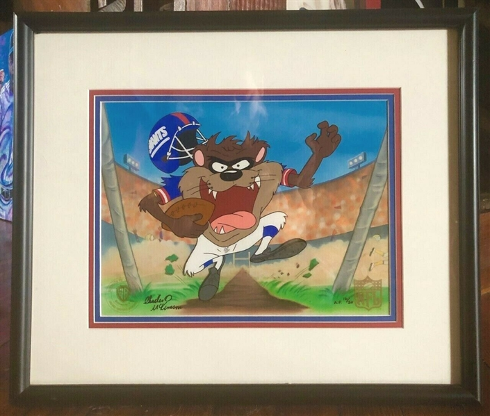 Tasmanian Devil NY Giants Art Cel NFL Licensed w/WB Certified Stamp AP/20 LE