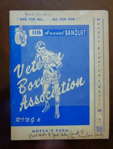 1959 VBA Annual Banquet Program signed by 4 boxers Schwartz Murphy Greblesky +1 NO RESERVE