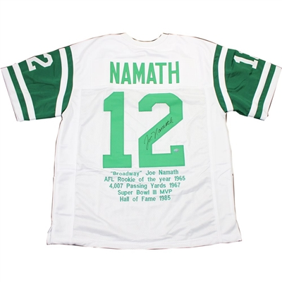Joe Namath Super Bowl 3 Highlight Stats SIGNED White Jets Jersey PSA COA No Reserve