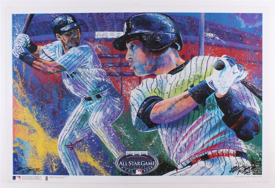 Derek Jeter 2008 AS Game at Yankee Stadium Lithograph Signed by Artist Bill Lopa No Reserve