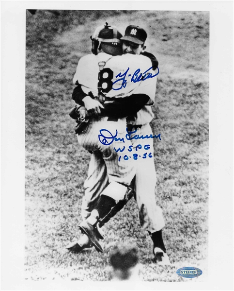 Yankees Don Larsen & Yogi Berra Dual Signed 8x10 WSPG Photo w/inscription Steiner Authenticated